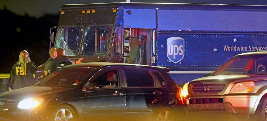 Truck police fired at, killing UPS driver Frank Ordonez, taken hostage in a carjacking. (photo: NBC)