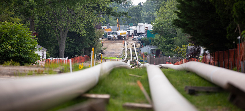 Sections of steel pipe lie in a staging area before being inserted underground as part of Energy Transfer's Mariner East 2 pipeline in Exton, Penn., on June 5, 2019. (photo: Robert Nickelsberg/Getty Images)