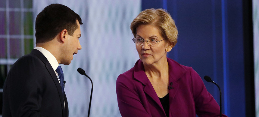 South Bend, Indiana, mayor Pete Buttigieg and Sen. Elizabeth Warren. (photo: John Bazemore/AP)