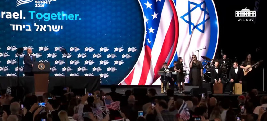 President Trump speaking at Israeli-American Council summit. (photo: Getty)