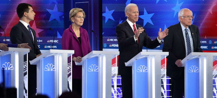 Democratic candidates on stage. (photo: Alex Wong/Getty Images)