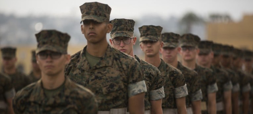 Marine recruits stand in formation during a final drill evaluation in San Diego in June. (photo: U.S. Marine Corps)
