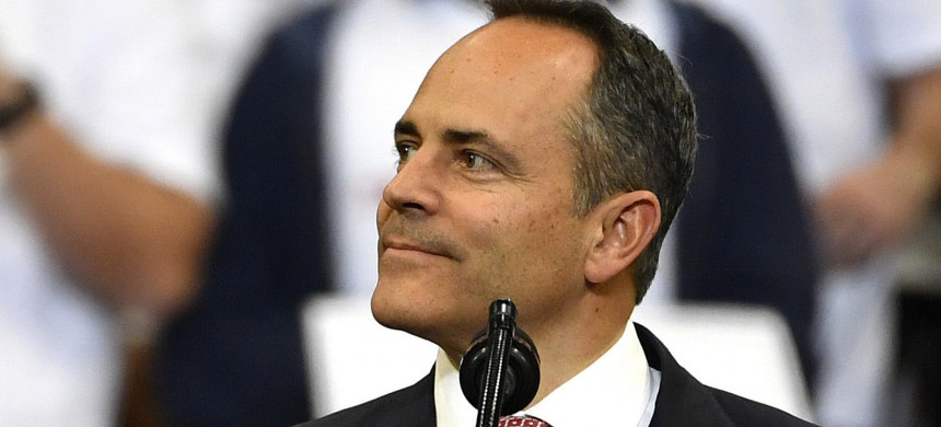 Matt Bevin looks out at the crowd during a campaign rally with President Trump in Lexington, KY, in November. (photo: Timothy D. Easley/AP)