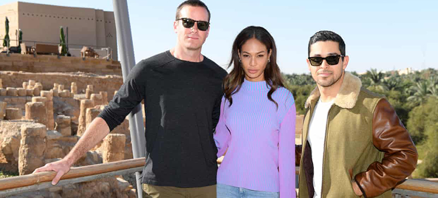 Armie Hammer, Joan Smalls and Wilmer Valderrama attend the MDL Beast Festival Lunch at the historical city of Diriyah in Riyadh, Saudi Arabia. (photo: Daniele Venturelli/Getty Images)