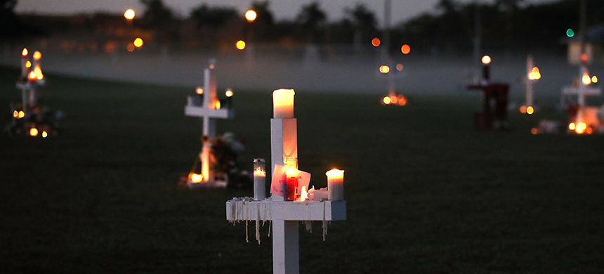 A makeshift memorial for the victims of the Marjory Stoneman Douglas High School shooting victims. (photo: Mark Wilson/Getty Images)