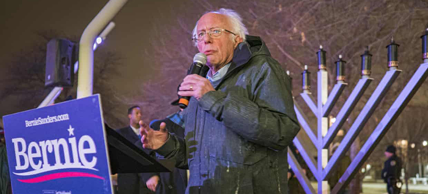 Bernie Sanders during a menorah lighting on Sunday night in Iowa said: 'If there was ever a time in American history where we say no to religious bigotry, this is the time.' (photo: Jack Kurtz/ZUMA Wire/REX/Shutterstock)