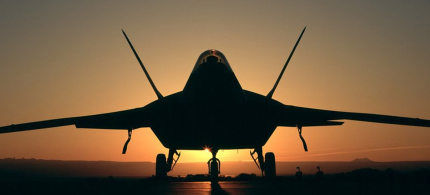 F22 fighter jet on runway. (photo: Getty Images)