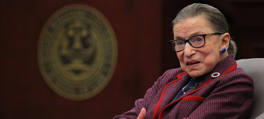 Ruth Ginsburg answered audience questions during a 'fireside chat' at Roger Williams University Law School. (photo: Pat Greenhouse/Boston Globe)