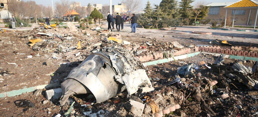 Debris of the Ukraine International Airlines plane that crashed after taking off from the airport near Tehran on Wednesday. (photo: Nazanin Tabatabaee/WANA)