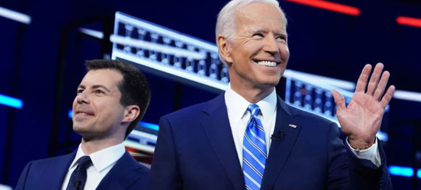 2020 election presidential candidates Mayor Pete Buttigieg, former Vice President Joe Biden pose during the second night of the first Democratic presidential candidates debate in Miami, Florida, June 27, 2019. (photo: Carlo Allegri/Reuters)