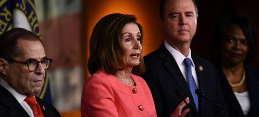 Democratic Speaker of the House Nancy Pelosi, flanked by representatives Jerry Nadler and Adam Schiff. (photo: Brendan Smialowski/AFP)