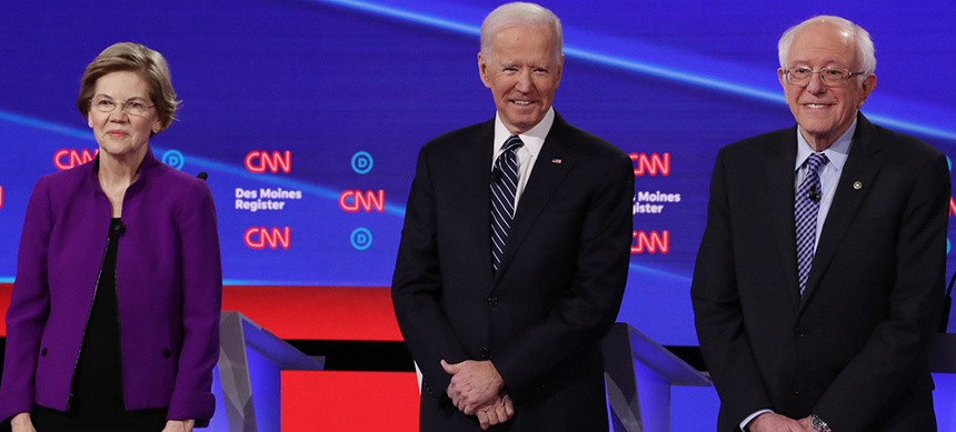 This week's Democratic debate in Iowa. (photo: AP)
