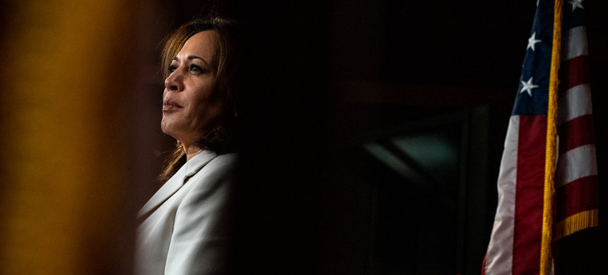 Senator Kamala Harris has yet to endorse a candidate in the Democratic presidential primary race, but she has stayed in contact with former vice president Joseph R. Biden since she dropped out. (photo: Anna Moneymaker)