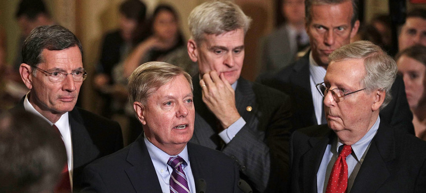 Republican senators Sen. Lindsey Graham, Sen. John Barrasso, Sen. Bill Cassidy, Sen. John Thune, and Senate Majority Leader Sen. Mitch McConnell. (photo: Alex Wong/Getty)