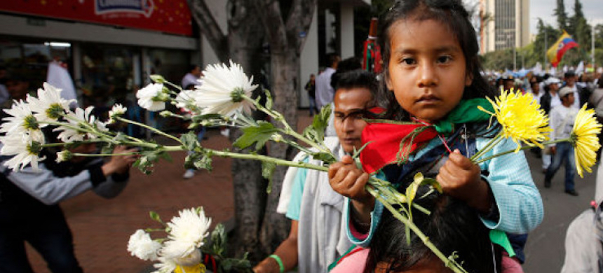 A protest for indigenous rights in Colombia. (photo: Journal.ie)
