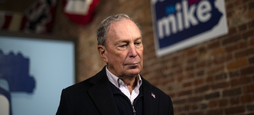 Democratic presidential candidate Michael Bloomberg addresses the press from his newly opened Philadelphia field office on Dec. 21, 2019. (photo: Mark Makela/Getty)