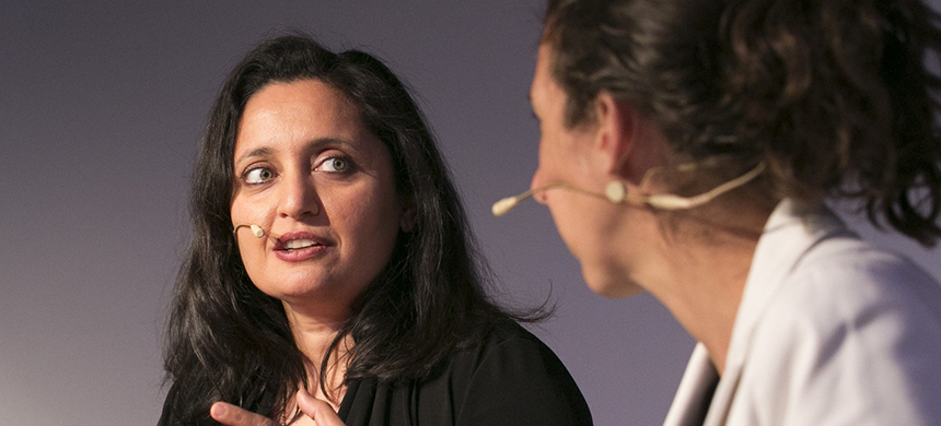 Sonal Shah, left, during a panel discussion at the Natural History Museum, London, on March 17, 2016. (photo: John Phillips/Getty Images/Chivas)