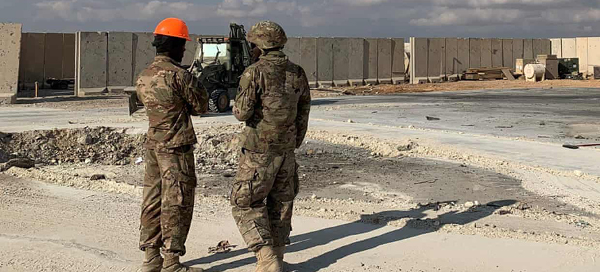 US soldiers at a base in Iraq. Multiple rockets struck near the US embassy in Baghdad on 16 February. (photo: Ayman Henna/AFP/Getty Images)
