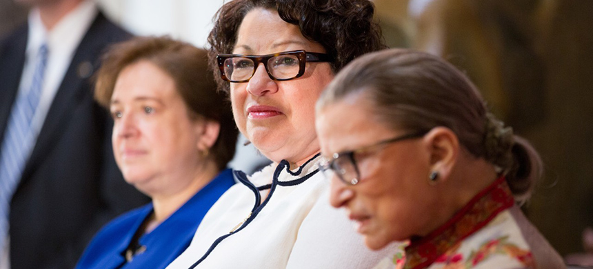 Justices Ruth Bader Ginsburg, Sonia Sotomayor and Elena Kagen. (photo: Reuters)