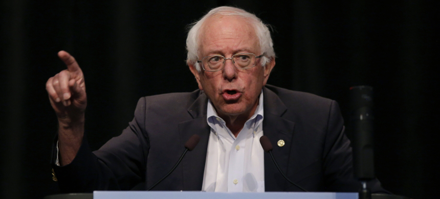 Democratic presidential candidate Sen. Bernie Sanders (I-VT) speaks at the Iowa Federation Labor Convention on August 21, 2019 in Altoona, Iowa. (photo: Joshua Lott/Getty)