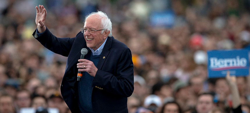 Democratic presidential candidate Sen. Bernie Sanders, I-VT, smiles while the crowd chants his name during a campaign event on Sunday, Feb. 23, 2020, in Austin, Texas. (photo: Nick Wagner/AP)