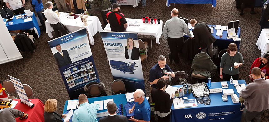 A job fair for veterans in Pittsburgh last year. Unemployment for veterans is now slightly below 3 percent. (photo: Keith Srakocic/AP)