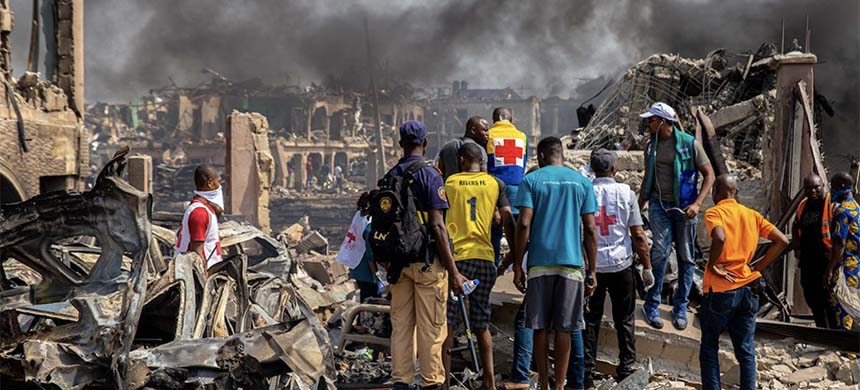A gas explosion in Nigeria's commercial capital Lagos killed at least 15 people, injured many more and destroyed around 50 buildings on March 15, 2020. (photo: Getty Images/Benson Ibeabuchi/AFP)