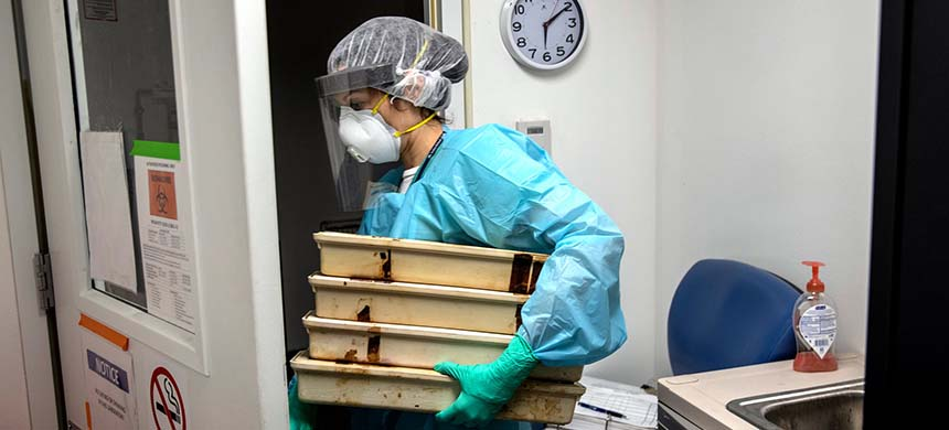 Lisa Miorin, an assistant professor of microbiology at the Icahn School of Medicine at Mount Sinai in New York, carrying sterilized trays into a high-security lab to use in a coronavirus study. (photo: Victor J. Blue/NYT)