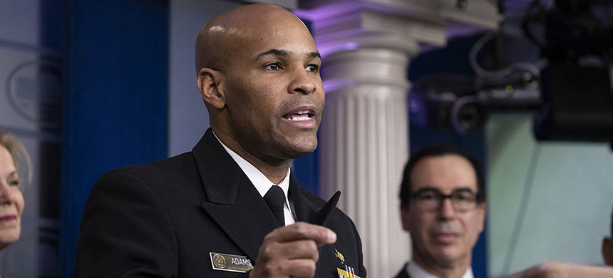 Surgeon General Jerome Adams speaks during a news conference about the coronavirus in the James Brady Briefing Room at the White House. (photo: Drew Angerer/Getty Images)