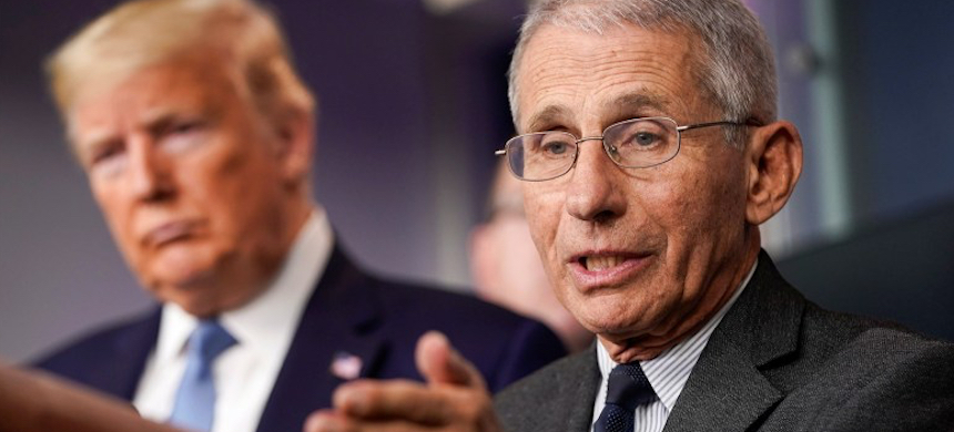 Dr. Anthony Fauci and Donald Trump. (photo: Joshua Roberts/Reuters)