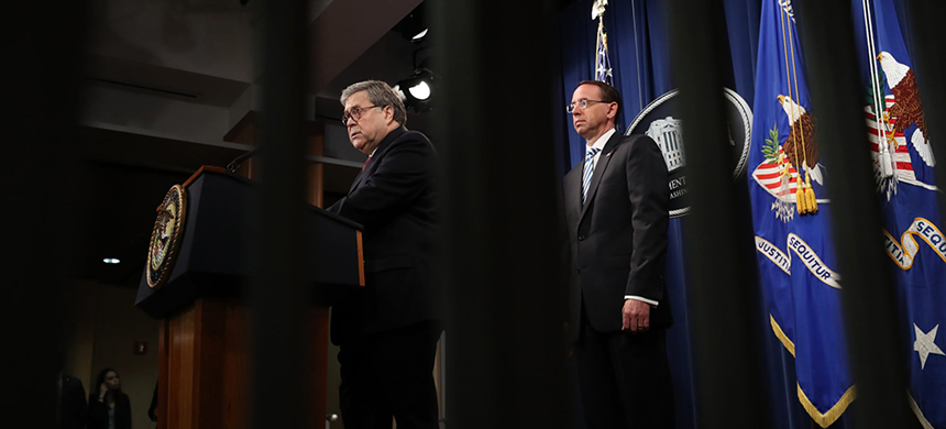 Attorney General Bill Barr, left, and then-Deputy Attorney General Rod Rosenstein at the Department of Justice in April 2019. (photo: Win McNamee/Getty)