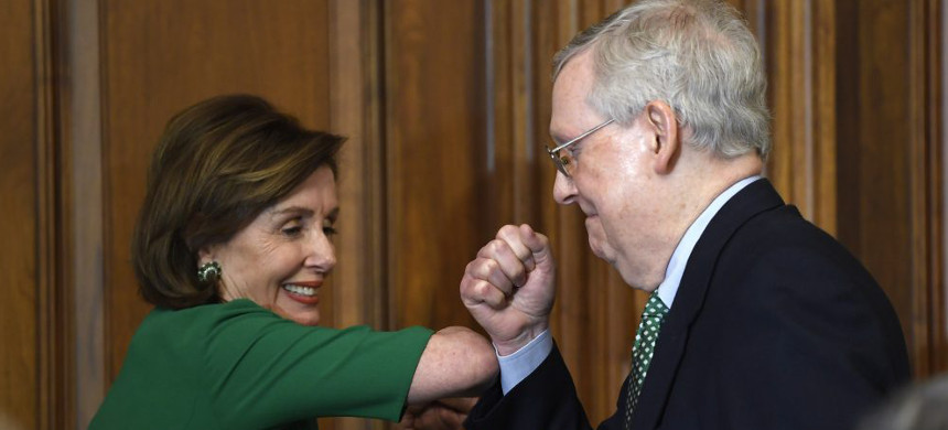 House Speaker Nancy Pelosi of Calif., left, and Senate Majority Leader Mitch McConnell of Ky., (photo: Susan Walsh/AP)