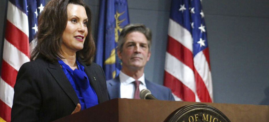 Michigan gov. Gretchen Whitmer addresses the state during a speech in Lansing, Mich., Monday, April 27, 2020. (photo: AP)