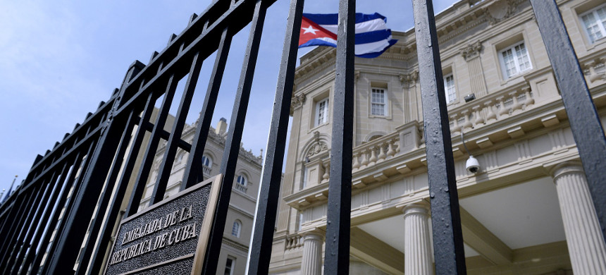 The Cuban flag flies in front of the country's embassy in Washington, D.C. (photo: Douliery Olivier/AP)