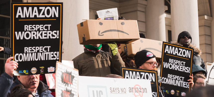 Amazon workers rally for stronger worker protections. (photo: Jessica Tyler/Business Insider)