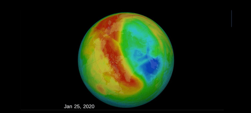 The hole in the ozone layer over the Arctic Circle beginning in January 2020. (photo: NASA)