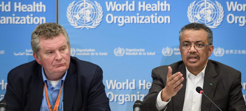 WHO Director-General Tedros Adhanom Ghebreyesus (right), flanked by World Health Organization (WHO) Health Emergencies Programme head Michael Ryan. (photo: AFP)