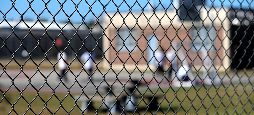 Detainees in the yard during a media tour of the Winn Correctional Center in Winnfield, La., on Sept. 26, 2019. (photo: Gerald Herbert/AP)