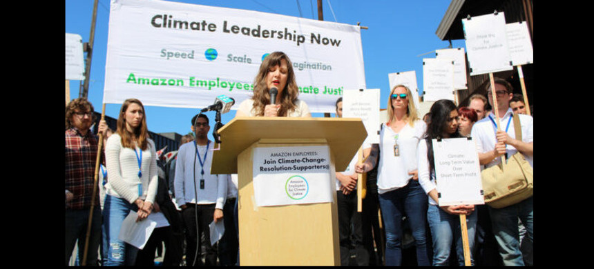Former Amazon employee Emily Cunningham speaks at a rally outside of the company's shareholders' meeting in May 2019. (photo: Amazon Employees for Climate Justice)