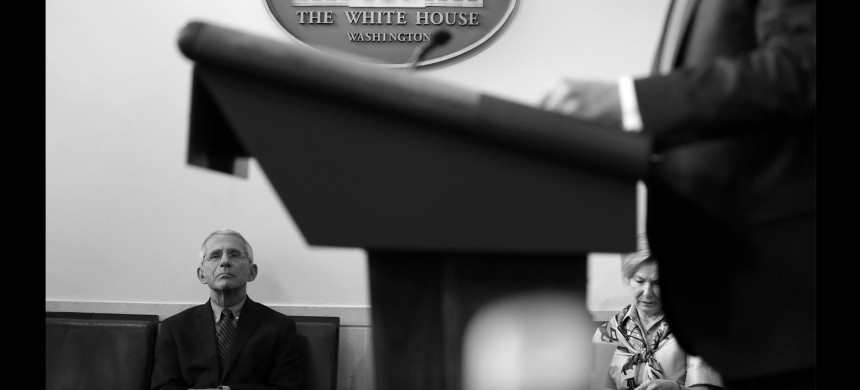 Anthony Fauci attends a coronavirus press briefing in April. (photo: Drew Angerer/National Geographic)