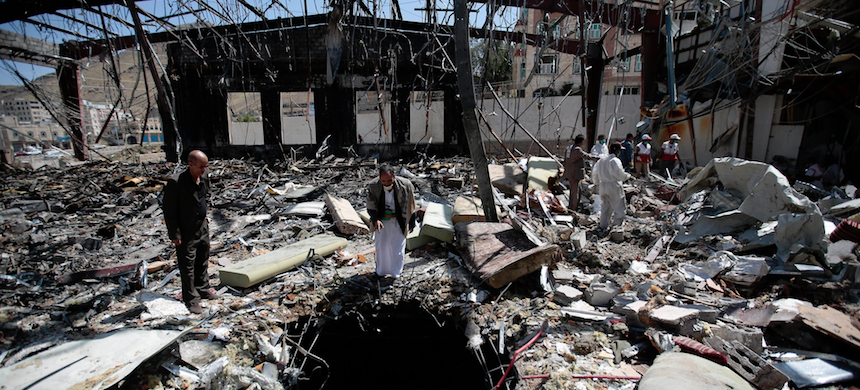 A Saudi-led bombing of a funeral hall in Sana, Yemen, in 2016 killed at least 140 people and injured another 500. A bomb shard was linked to the American company Raytheon. (photo: Hani Mohammed/AP)