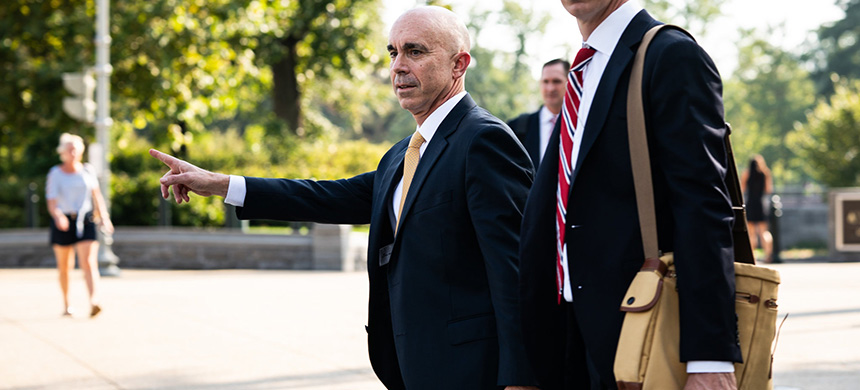 Steve Linick, whom President Trump removed on Friday from his post as inspector general for the State Department, after a closed briefing on Capitol Hill in Washington last year. (photo: Erin Schaff/NYT)