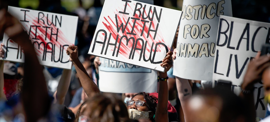 A rally in Brunswick, Georgia, to protest the fatal shooting of Ahmaud Arbery. (photo: Sean Rayford/Getty Images)