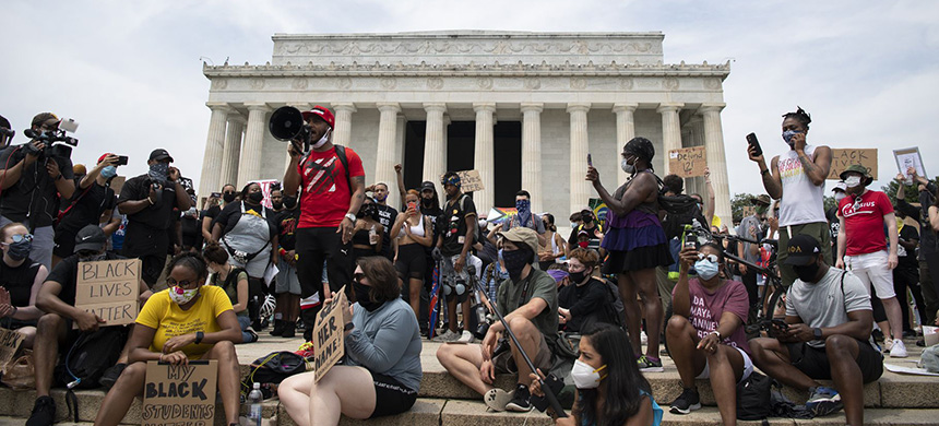 People gather on the steps of the Lincoln Memorial on Saturday, June 6, 2020, as they protest the death of George Floyd. (photo: Caroline Brehman/CQ-Roll Call, Inc/Getty Images)