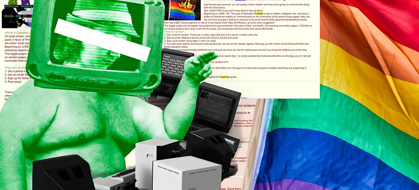 4chan homophobic trolls mounted a campaign to bring down the gay pride celebrations this year. (image: Josh Eustace/Vice)