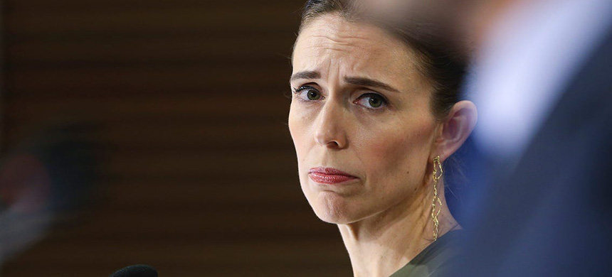 New Zealand prime minister Jacinda Ardern at a press conference on April 7. (photo: Hagen Hopkins/Getty Images)