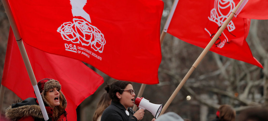 Demonstrators with the Democratic Socialists of America. (photo: Lucas Jackson/Reuters)