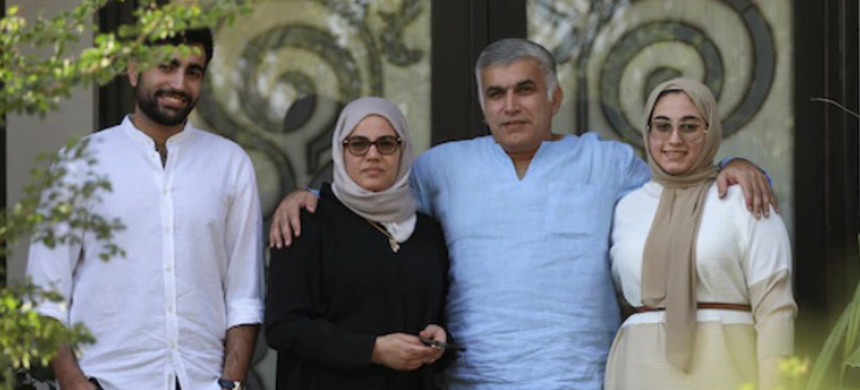 Rights activist Nabeel Rajab, second from right, with family members at his home in Manama, Bahrain, after he was released from prison. (photo: Ahmed Alfardan/EPA)