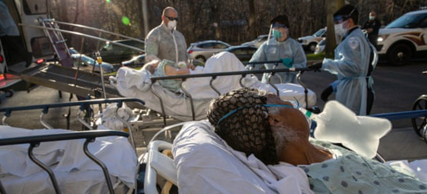 Covid-19 patients arrive at the Montefiore medical center in the Bronx, New York City. (photo: John Moore/Getty)