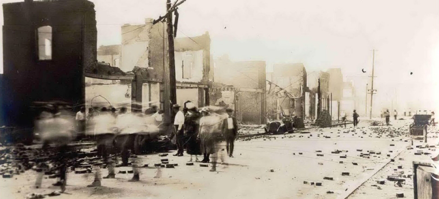 The aftermath of the 1921 race massacre in Tulsa. (photo: Tulsa Historical Society)
